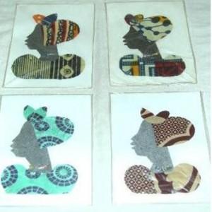 Cartes de voeux indiquant une silhouette de dame Burkinabé faites par Monique Nikiema