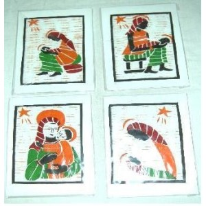 Cartes de Noël en Batik faites par Monique Nikiema