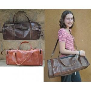Sac de voyage en cuir fabriqué par Abas Koanda