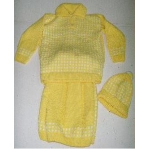 Girls' knitted outfit in pastel yellow by Zoénabou Savadogo: