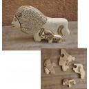 Puzzle d'un lion pyrogravé par Evariste Sorgho