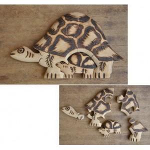 Puzzle d'une tortue pyrogravé par Evariste Sorgho