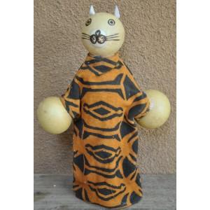Marionnette maniable à la main en forme d'un chat faite par Evariste Sorgho & Yacouba Tapsoba
